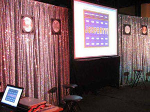 jeoparty interactive trivia-based game show setup